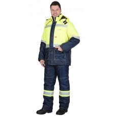 """Костюм """"ТЕРМИНАЛ"""" зимний: куртка, п/комб. лимонный с синим тк. Оксфорд"""