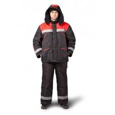 Костюм рабочий утепленный «Эверест» черный/красный